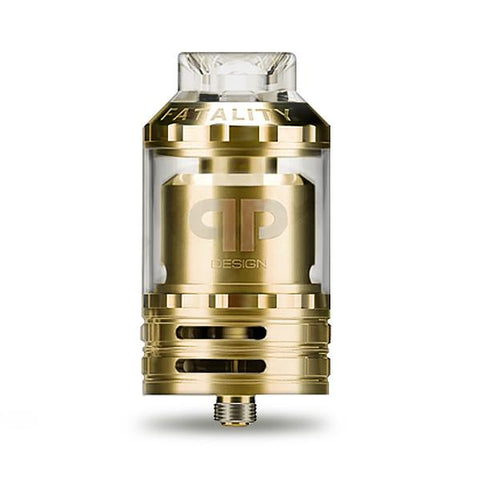 QP Designs FATALITY RTA, Gold. The Village Vaporette, Cambridge, Ontario, Canada, rebuildable, rebuildable tank atomizer, reservoir, 28mm, 6mL, rebuildable vape,