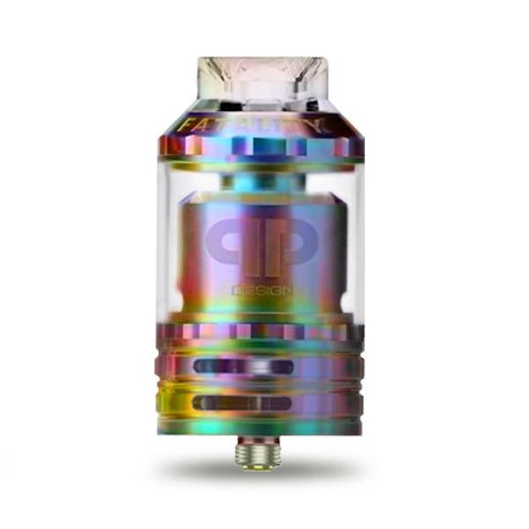 QP Designs FATALITY RTA, Rainbow. The Village Vaporette, Cambridge, Ontario, Canada, rebuildable, rebuildable tank atomizer, reservoir, 28mm, 6mL, rebuildable vape,