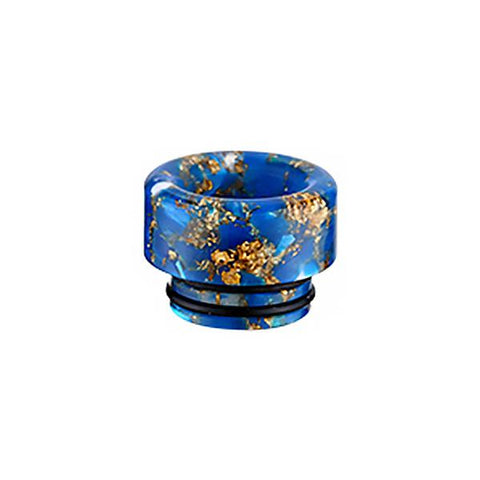 810 Gold Flake Resin Epoxy Drip Tip, blue. The Village Vaporette, Cambridge, Ontario, Canada, floral, double o-ring, shorty, vape drip tip