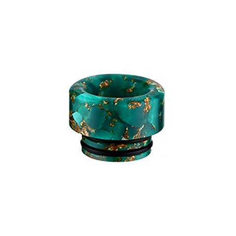 810 Gold Flake Resin Epoxy Drip Tip, green. The Village Vaporette, Cambridge, Ontario, Canada, floral, double o-ring, shorty, vape drip tip