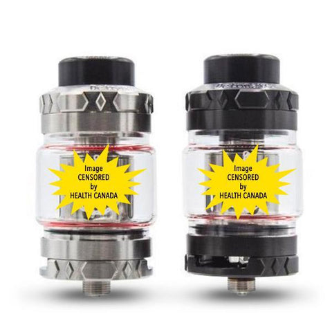 Squid Industries Detonator 25mm Sub Ohm Tank, stainless & black. The Village Vaporette, Cambridge, Ontario Canada, buy canadian, buy local, bubble glass, 5mL, 7mL, vape tank, detonator,