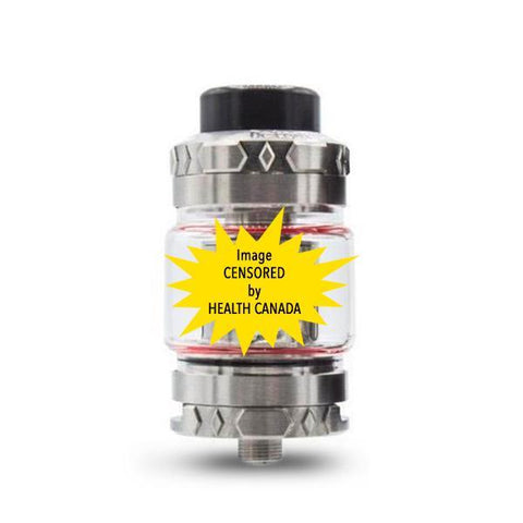 Squid Industries Detonator 25mm Sub Ohm Tank, stainless. The Village Vaporette, Cambridge, Ontario Canada, buy canadian, buy local, bubble glass, 5mL, 7mL, vape tank, detonator,