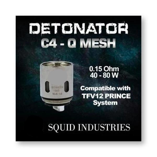 Squid Industries Detonator C4-Q Mesh Coils for the Detonator 25mm Tank. The Village Vaporette, Cambridge, Ontario, Canada.