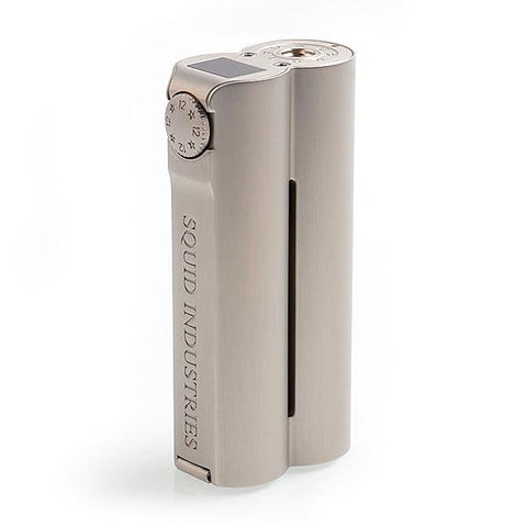 Squid Industries Double Barrel V3, champagne grey. The Village Vaporette, Cambridge, Ontario, Canada, squid vape, shotgun shape, sealed, upgraded double barrel, 25mm, 150w, powder coated