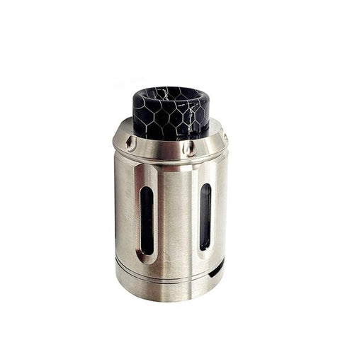 Squid Industries PEACEMAKER RTA, stainless. The Village Vaporette, Cambridge, Ontario, Canada, revolver, bubble glass, rebuildable tank, 810 drip tip, 8mL, 25mm diameter, clamp deck,