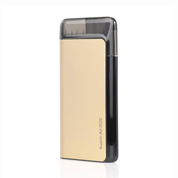 Suorin AIR PLUS Pod System, Gold. The Village Vaporette, Cambridge, Ontario, Canada, pod vape, cartridges, pods, pocket vape, type c charging, square vape,