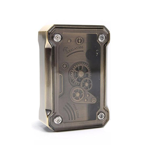 Tesla PUNK 220W Box Mod, brass. The Village Vaporette.