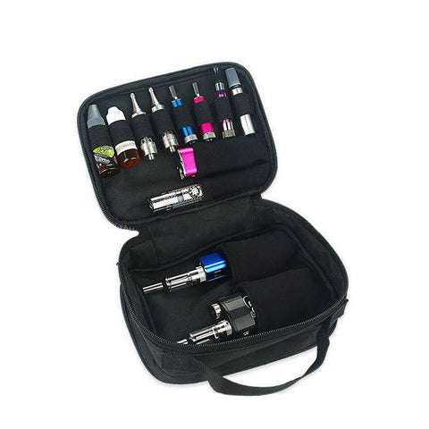 Vape bag with handle, inside 2 with gear. The Village Vaporette.