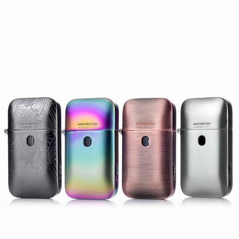 Vaporesso Aurora Play Pod System, all available colours. The Village Vaporette, Cambridge, Ontario, Canada, vape pod, micro vape, zippo lighter, flick the lid, puff activated,