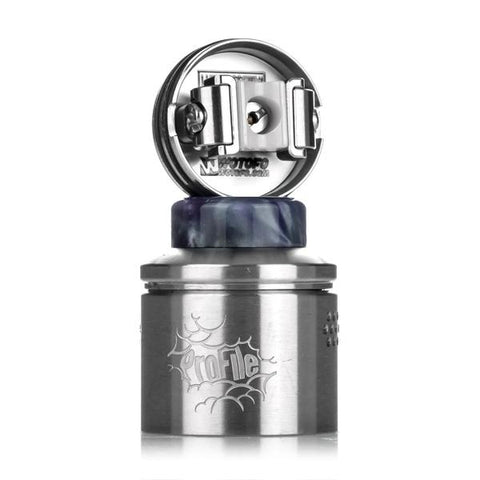 Wotofo Profile RDA, deck, top view. The Village Vaporette, Cambridge, Ontario, Canada, Mr. Just Right, collaboration, rebuildable atomizer, dripper, dripping vape, resin, wide bore,