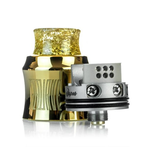 Wotofo RECURVE RDA, deck 2. The Village Vaporette, Cambridge, Ontario, Canada, rebuildable, dripper, curved, single coil, mike vapes,