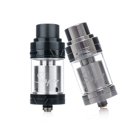 Wotofo Sapor RTA, black and stainless steel. The Village Vaporette.