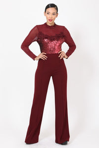 Sheer Sequin Jumpsuit