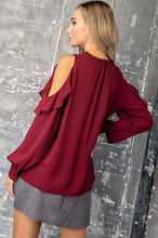 Load image into Gallery viewer, Ruffled Cold Shoulder Blouse