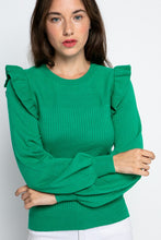 Load image into Gallery viewer, Ruffled Shoulder Sweater