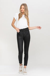 Button Up Black Coated Jean