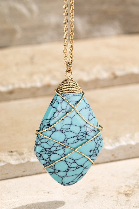 Natural Stone with Wire Wrap Necklace