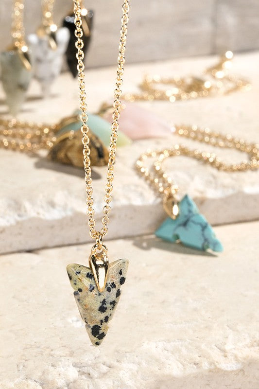Arrow Natural Stone Charm Necklace