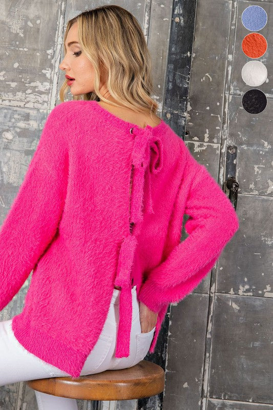 Open Tie Back Faux Fur Sweater