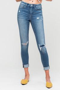 Mid Rise Distressed Cropped Skinny Jean