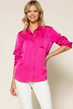 Satin Button-Down Blouse