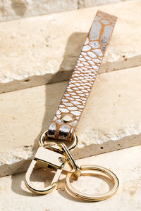 Faux Leather Metallic Animal Key Chain
