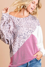 Load image into Gallery viewer, Leopard Thermal Knit Top - Pink