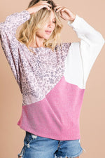 Leopard Thermal Knit Top - Pink