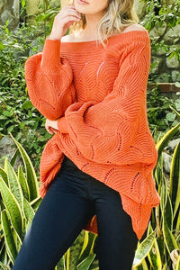Off-Shoulder Sweater/Puff Sleeves