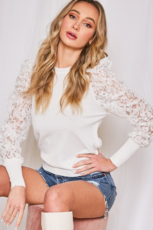Floral Tulle Sweater