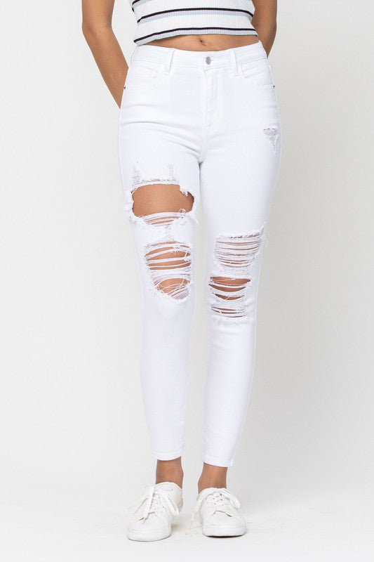 White-High Rise Distressed Ankle Skinny