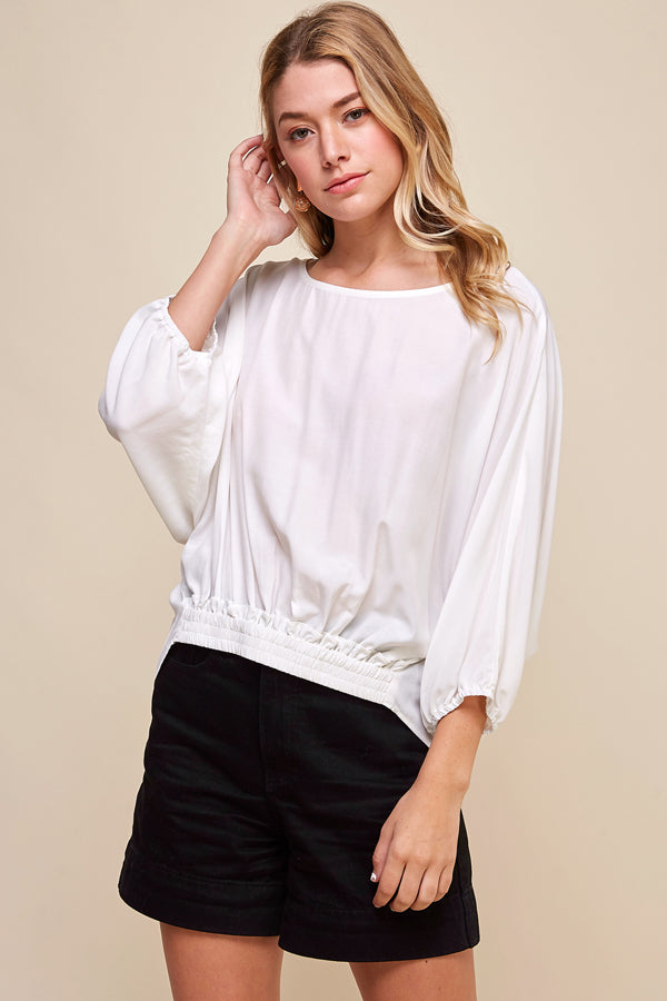 White Tie Back Blouse