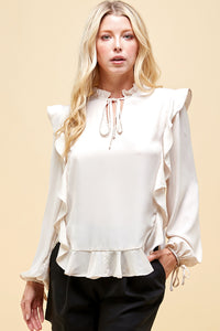 Ruffled V Neck Blouse