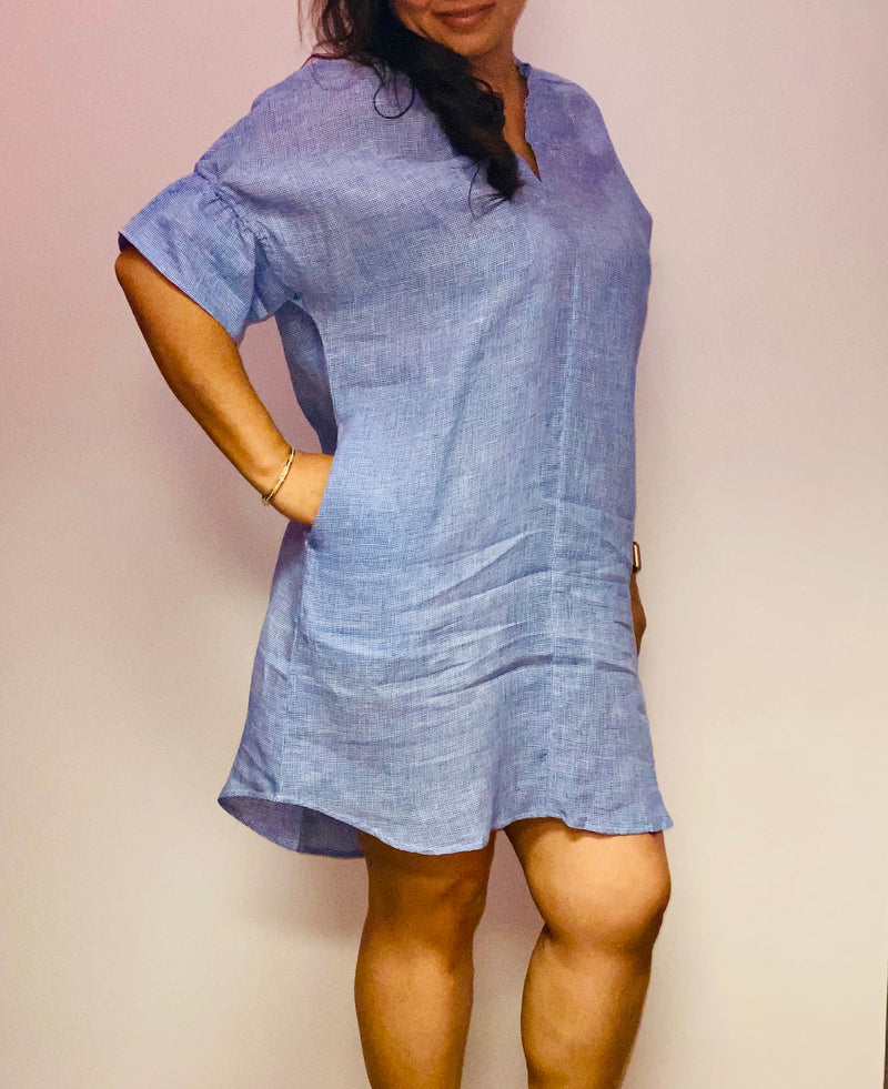 Linen Blue Gingham Dress