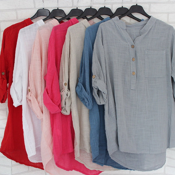 Womens Cotton Linen Stand Collar Shirt Tops