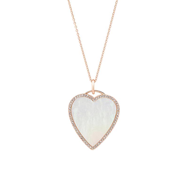 Jennifer Meyer Mother of Pearl Heart with Diamond Surround Necklace