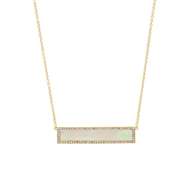 Jennifer Meyer Inlay Bar with Diamond Surround Necklace