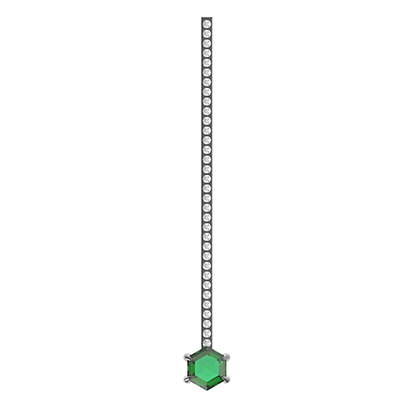 Eva Fehren Emerald Off-Set Hex Stud