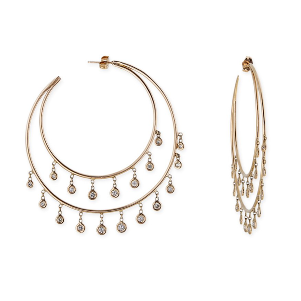 Jacquie Aiche Diamond Double Row Shaker Hoops