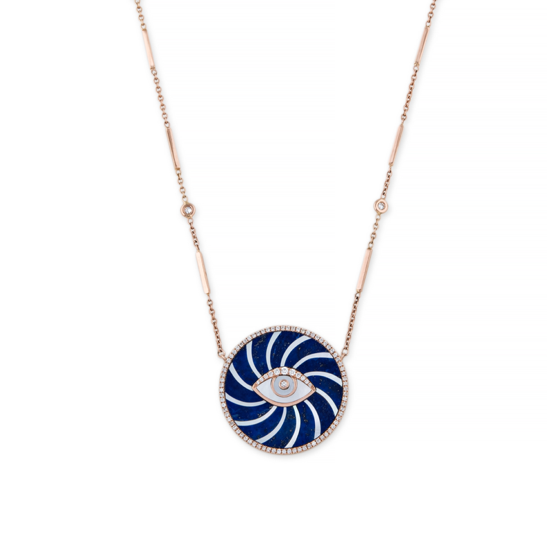 Jacquie Aiche Large Swirl Eye Necklace with Diamonds & Mother of Pearl
