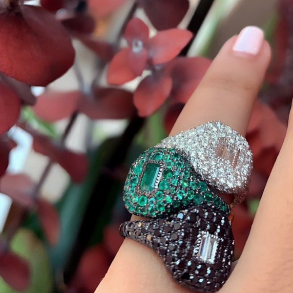 Shay Pave Emerald Pinky Ring