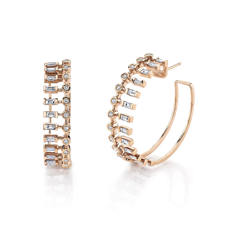 Shay Dot Dash Diamond Hoops
