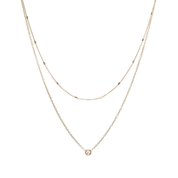 Zoe Chicco Mixed Double Chain Necklace With Floating Diamond