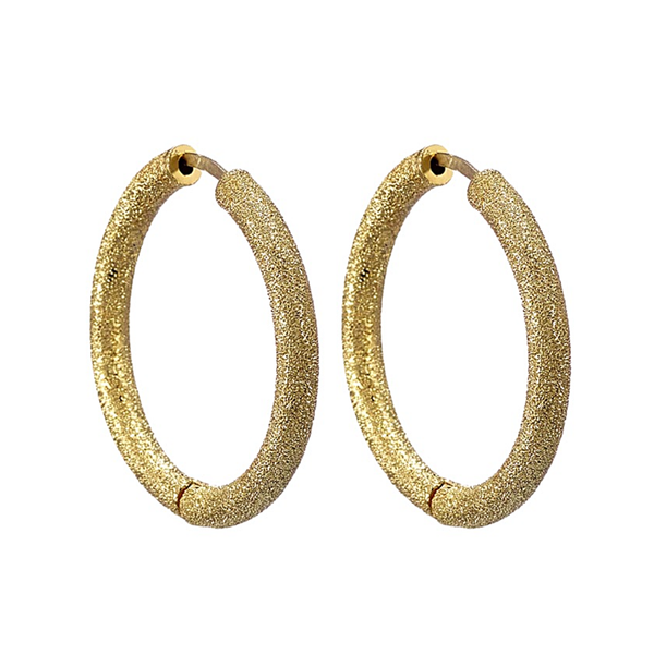 Carolina Bucci Florentine Finish Small Thick Round Hoops