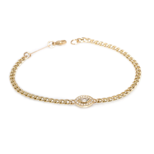 Zoe Chicco Halo Marquise Diamond Small Curb Chain Bracelet