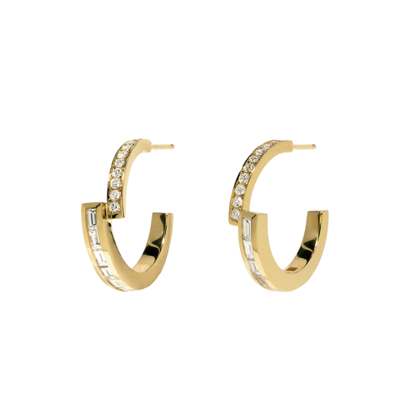 Azlee Pave and Baguette Diamond Hoops