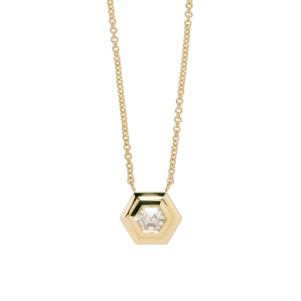 Azlee Hexagon Diamond Staircase Necklace