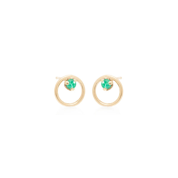 Zoe Chicco Small Circle - Emerald Inside Studs