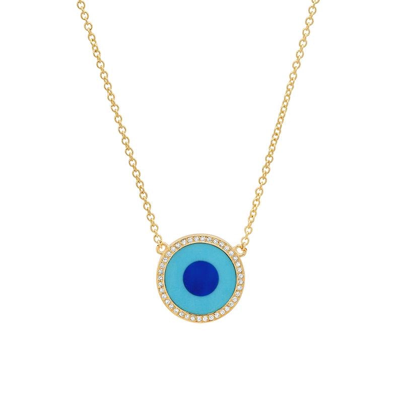 Jennifer Meyer Mini Turquoise & Lapis Diamond Evil Eye Necklace