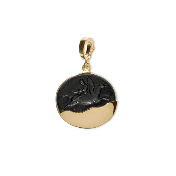 Azlee Pegasus Black Glass Gold Dipped Coin Charm